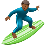 Man Surfing: Medium-Dark Skin Tone on Apple iOS 12.2
