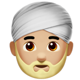 Man Wearing Turban: Medium-Light Skin Tone on Apple iOS 12.2
