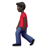 Person Walking: Dark Skin Tone on Apple iOS 12.2