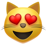Smiling Cat with Heart-Eyes on Apple iOS 12.2