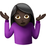 Woman Shrugging: Dark Skin Tone on Apple iOS 12.2