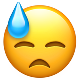 Downcast Face with Sweat on Apple iOS 13.1