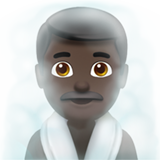 Man in Steamy Room: Dark Skin Tone on Apple iOS 13.1