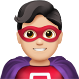 Man Superhero: Light Skin Tone on Apple iOS 13.1