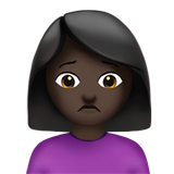 Person Frowning: Dark Skin Tone on Apple iOS 13.1