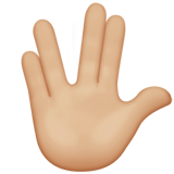 Vulcan Salute: Medium-Light Skin Tone on Apple iOS 13.1