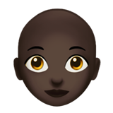 Woman: Dark Skin Tone, Bald on Apple iOS 13.1