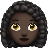 Woman: Dark Skin Tone, Curly Hair on Apple iOS 13.1