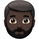 Man: Dark Skin Tone, Beard on Apple iOS 13.2