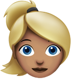 Woman: Medium Skin Tone, Blond Hair on Apple iOS 13.2