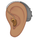 Ear With Hearing Aid: Medium Skin Tone on Apple iOS 13.2