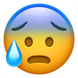 Anxious Face with Sweat on Apple iOS 13.2