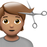Person Getting Haircut: Medium Skin Tone on Apple iOS 13.2