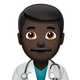 Man Health Worker: Dark Skin Tone on Apple iOS 13.2