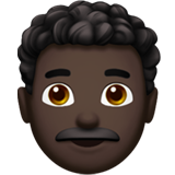 Man: Dark Skin Tone, Curly Hair on Apple iOS 13.2