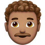 Man: Medium Skin Tone, Curly Hair on Apple iOS 13.2