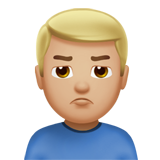 Man Pouting: Medium-Light Skin Tone on Apple iOS 13.2