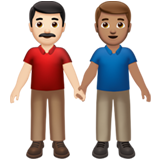 Men Holding Hands: Light Skin Tone, Medium Skin Tone on Apple iOS 13.2