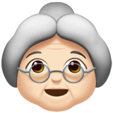 Old Woman: Light Skin Tone on Apple iOS 13.2