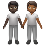 People Holding Hands: Dark Skin Tone, Medium-Dark Skin Tone on Apple iOS 13.2