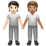 People Holding Hands: Light Skin Tone, Medium Skin Tone on Apple iOS 13.2