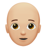 Person: Medium-Light Skin Tone, Bald on Apple iOS 13.2