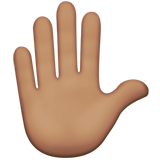 Raised Hand: Medium Skin Tone on Apple iOS 13.2
