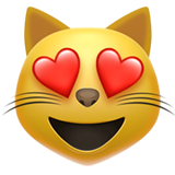 Smiling Cat with Heart-Eyes on Apple iOS 13.2