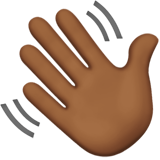 Waving Hand: Medium-Dark Skin Tone on Apple iOS 13.2