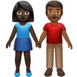 Woman and Man Holding Hands: Dark Skin Tone, Medium-Dark Skin Tone on Apple iOS 13.2