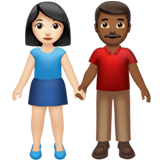 Woman and Man Holding Hands: Light Skin Tone, Medium-Dark Skin Tone on Apple iOS 13.2