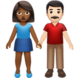 Woman and Man Holding Hands: Medium-Dark Skin Tone, Light Skin Tone on Apple iOS 13.2