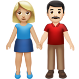 Woman and Man Holding Hands: Medium-Light Skin Tone, Light Skin Tone on Apple iOS 13.2