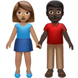 Woman and Man Holding Hands: Medium Skin Tone, Dark Skin Tone on Apple iOS 13.2