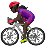 Woman Biking: Dark Skin Tone on Apple iOS 13.2