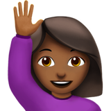 Woman Raising Hand: Medium-Dark Skin Tone on Apple iOS 13.2