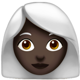 Woman: Dark Skin Tone, White Hair on Apple iOS 13.2