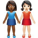 Women Holding Hands: Medium-Dark Skin Tone, Light Skin Tone on Apple iOS 13.2