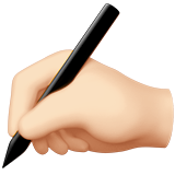 Writing Hand: Light Skin Tone on Apple iOS 13.2
