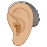 Ear with Hearing Aid: Medium-Light Skin Tone on Apple iOS 13.3