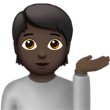 Person Tipping Hand: Dark Skin Tone on Apple iOS 13.3