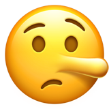 Lying Face Emoji on Apple iOS 13.3
