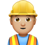 Man Construction Worker: Medium-Light Skin Tone on Apple iOS 13.3