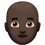 Man: Dark Skin Tone, Bald on Apple iOS 13.3