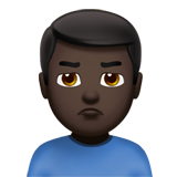 Man Pouting: Dark Skin Tone on Apple iOS 13.3