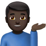 Man Tipping Hand: Dark Skin Tone on Apple iOS 13.3