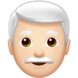 Man: Light Skin Tone, White Hair on Apple iOS 13.3