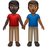 Men Holding Hands: Dark Skin Tone, Medium-Dark Skin Tone on Apple iOS 13.3