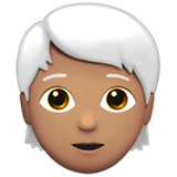 Person: Medium Skin Tone, White Hair on Apple iOS 13.3