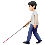 Person with White Cane: Light Skin Tone on Apple iOS 13.3